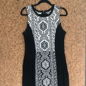 Graphic woven wiggle dress